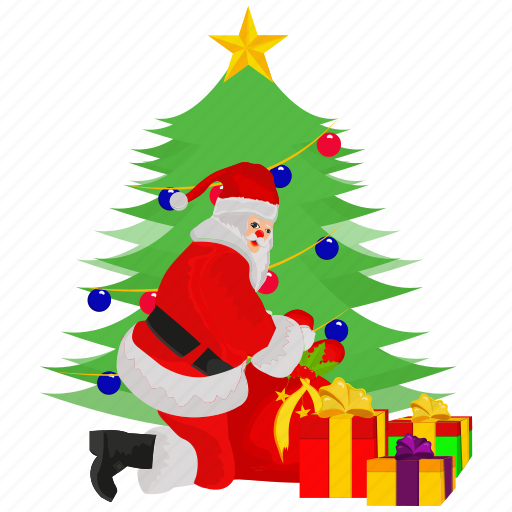 full santa claus, gift, santa, santa claus, tree icon