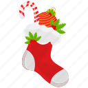 christmas, xmas, stocking, candy cane icon