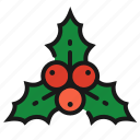 berries, christmas, holly, plant icon