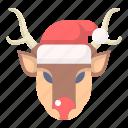 animal, christmas, deer, holiday, rudolph, santa, xmas