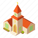 building, church, isometric, logo, object, pastor, small