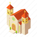 building, church, isometric, logo, object, pastor, protestant