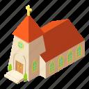 building, chapel, church, isometric, logo, object, pastor