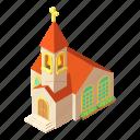 building, church, cross, isometric, logo, object, pastor