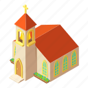 building, church, isometric, logo, object, pastor, tower