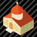building, church, isometric, logo, object, orthodox, pastor
