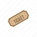 cinema, entertainment, movie, paper, retro, theater, ticket icon