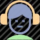 earphone, hand free, headphone, music, people, songs, sound icon