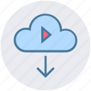 arrow, cloud, cloud computing, multimedia, play, round, up icon