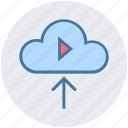 arrow, cloud, cloud computing, down, multimedia, play, round icon