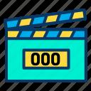 clapperboard, digital, movie icon