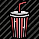beverage, cinema, drink, glass, movie, softdrink, straw