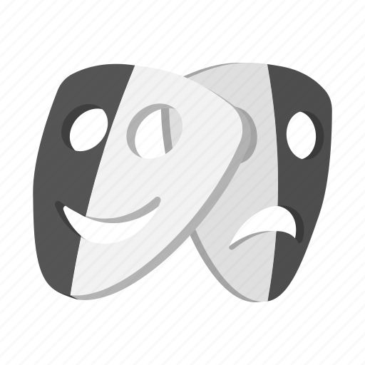 cartoon, drama, emotion, face, mask, sad, theater icon