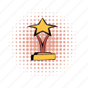 achievement, award, comics, competition, gold, star, success icon