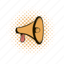 announcement, comics, communication, loudspeaker, megaphone, message, speaker icon
