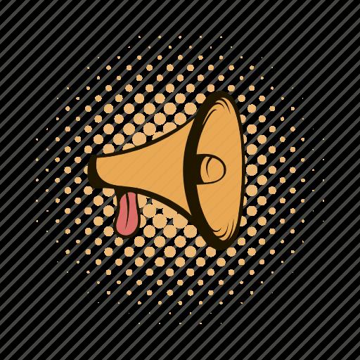 announcement, comics, communication, loudspeaker, megaphone, message, speaker icon