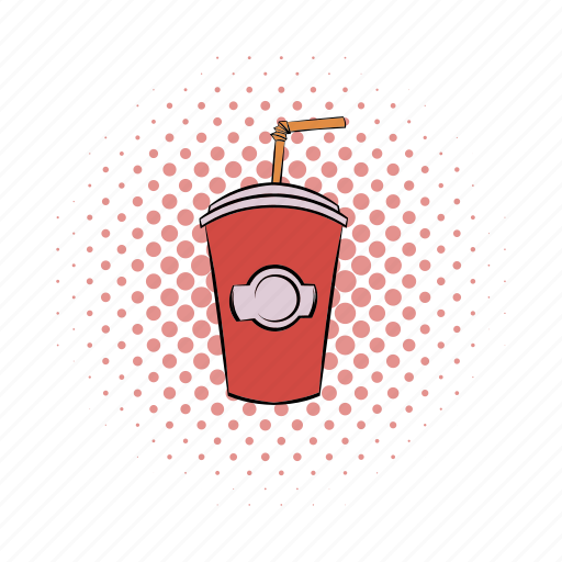 beverage, comics, cup, drink, paper, soda, straw icon