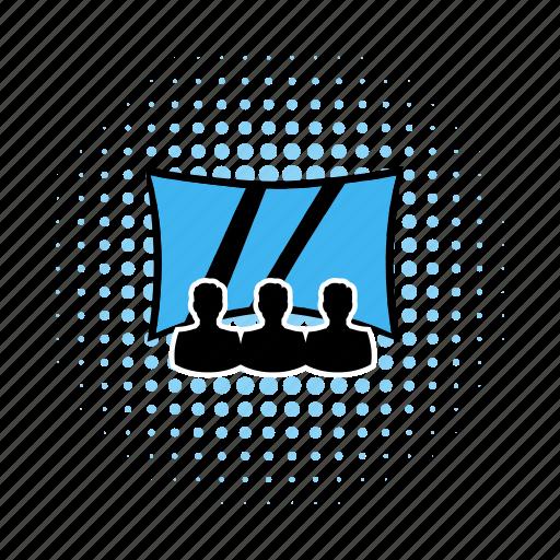 audience, auditorium, cinema, comics, movie, screen, seat icon