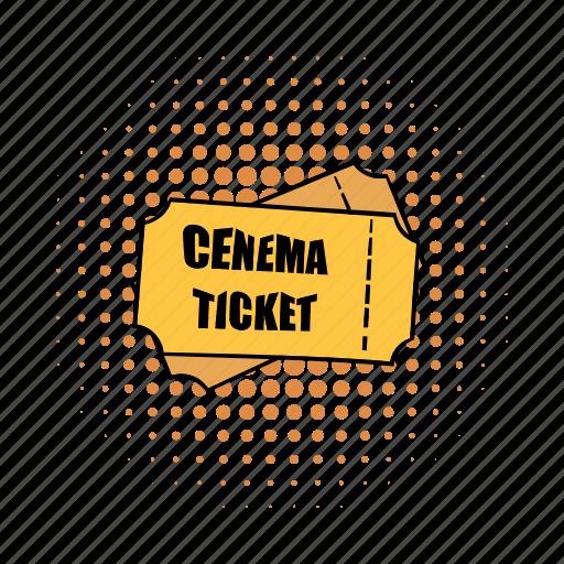 cinema, comics, entertainment, movie, retro, theater, ticket icon