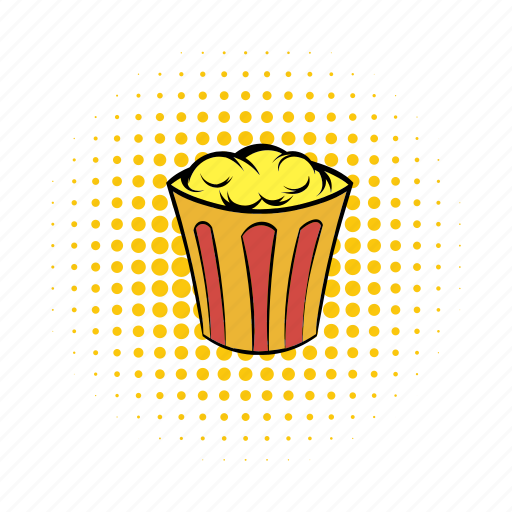 box, comics, corn, food, movie, popcorn, snack icon