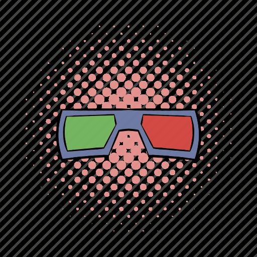 cinema, comics, film, glass, illusion, movie, red icon