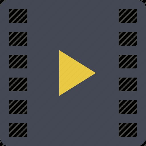 film, filmroll, filmstrip, movie, multimedia, play, video icon