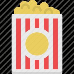 eating, entertainment, food, popcorns, snack icon