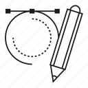 circle, design, graphic, pencil icon