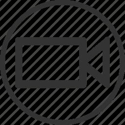 camera, circle, movie, video icon