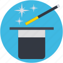 magic show, magic stick, magic trick, magician cap, magician hat icon