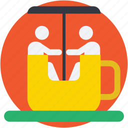 amusement ride, circus game, circus rotative, gymnastic, rotative cup icon
