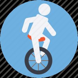 acrobat on unicycle, acrobatic, balancing, circus bike, wheel icon
