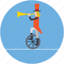 acrobatic, balancing, bullhorn on wheel, circus bike, music juggler icon