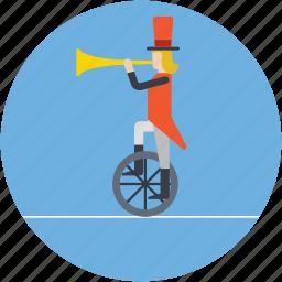 acrobatic, balancing, bullhorn on wheel, circus bike, music juggler icon