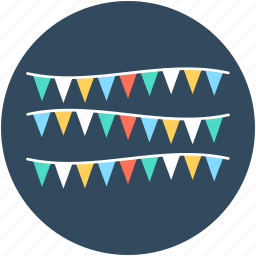 buntings, party decoration, party flags, pennants, small flags icon