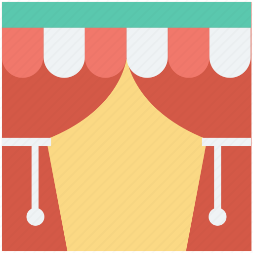 circus, circus entrance, curtains, stage, theater icon