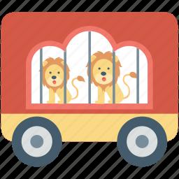 cage, circus cage, circus cart, circus trolley, circus wagon icon