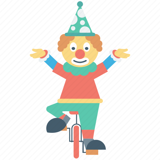 circus performer, clown bicycle, jester, unicycle icon