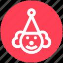 buffoon, circus, clown, hat, jester, joker, joker face icon