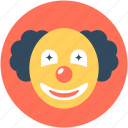 buffoon, clown, clown face, jester, joker icon