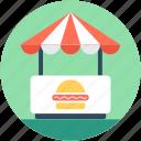 burger, burger kiosk, burger stall, food stand, street food icon