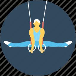 acrobat, aerial acrobat, aerial rings, aerial skills, trapeze rings icon