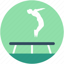 acrobatic, circus trampoline, jumping pad, trampoline, trampoline jump icon