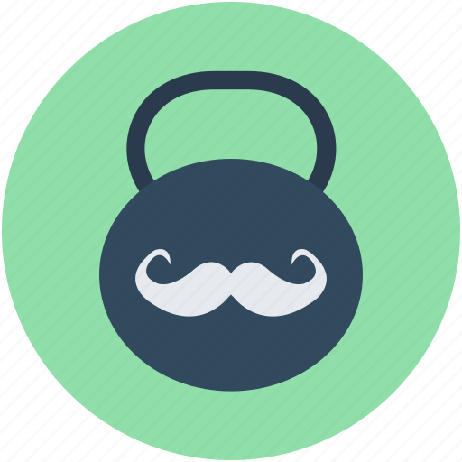kettlebell ball, moustache, powerlifting, strongman, weight icon
