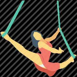 acrobatic, aerial skill, circus, gymnast, performer icon