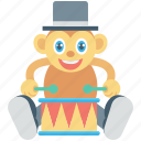 animal, circus monkey, drum, monkey, show icon
