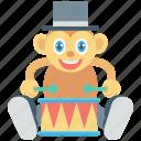 animal, circus monkey, drum, monkey, show
