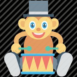 animal, circus monkey, drum, monkey, show icon