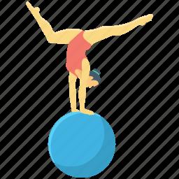 acrobat, acrobat balance, circus, funambulist ball, gymnast icon