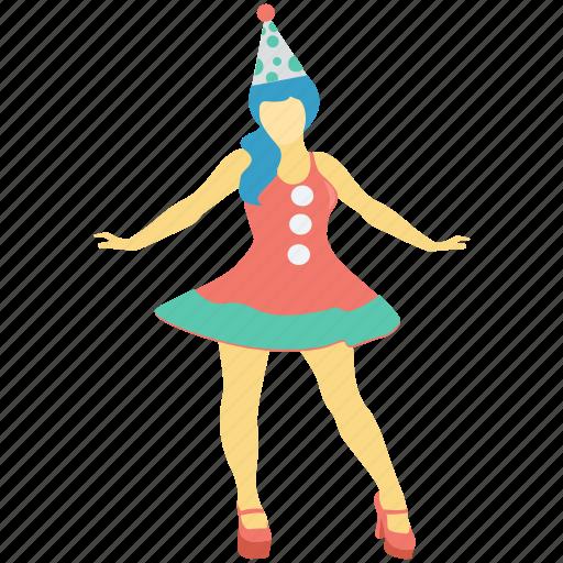avatar, cheerleader, circus, performer, woman icon